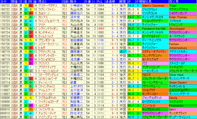 函館2歳S2019 過去10年成績データ表