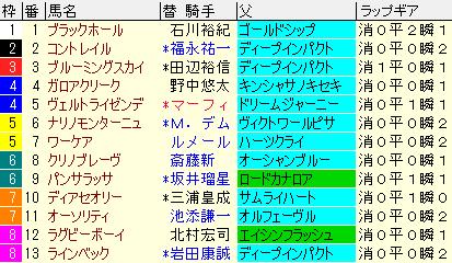 ホープフルS2019 枠順確定ラップギア適性値