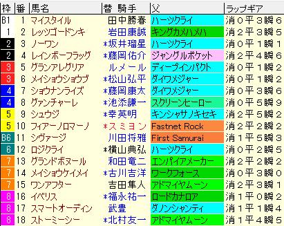 阪神C2019 枠順確定ラップギア適性値