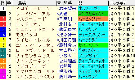 日経新春杯2020 枠順確定ラップギア適性値