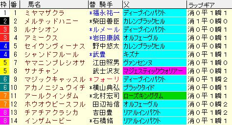 クイーンC2020 枠順確定ラップギア適性値