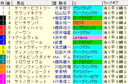 阪神牝馬S2020 枠順確定ラップギア適性値