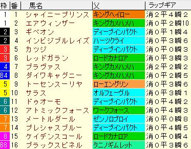 新潟大賞典2020 枠順確定ラップギア適性値