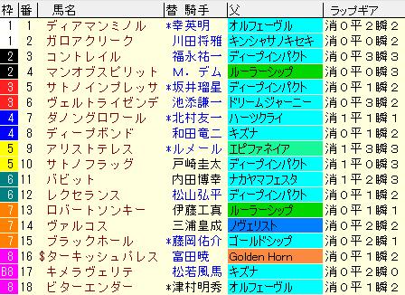 菊花賞2020 枠順確定ラップギア適性値