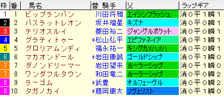 京都2歳S2020 枠順確定ラップギア適性値