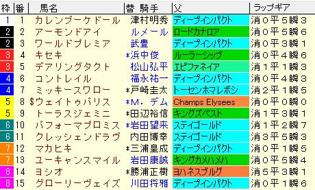 ジャパンカップ2020 枠順確定ラップギア適性値