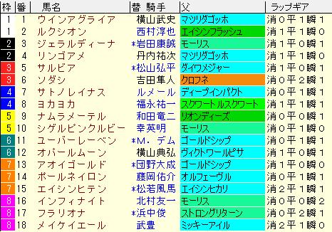 阪神JF2020 枠順確定ラップギア適性値