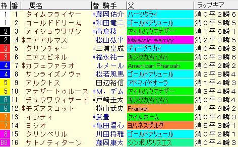 チャンピオンズC2020 枠順確定ラップギア適性値