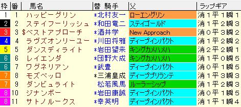 京都記念2021 枠順確定ラップギア適性値